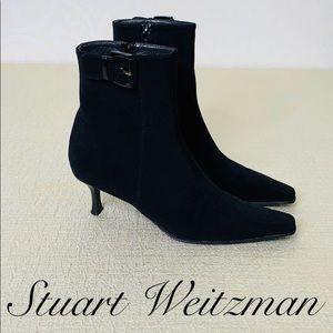 STUART WEITZMAN BLACK KITTEN HEEL BOOTIES SIZE 10